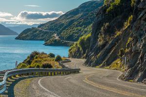 Road along Lake Wakatipu, Queenstown, New Zealand by Naruedom Yaempongsa