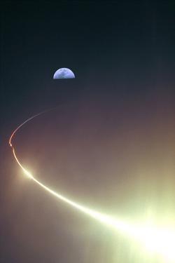 NASA Lunar Prospector (Launch Towards Moon) Art Poster Print