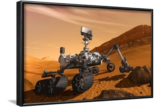 NASA Mars Curiosity Rover Spacecraft Poster--Framed Poster
