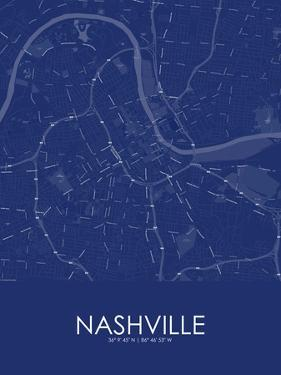Nashville, United States of America Blue Map