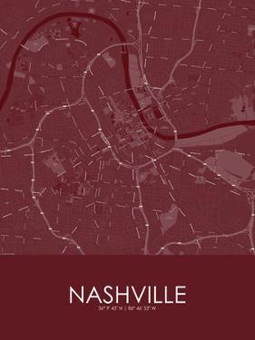 Nashville, United States of America Red Map