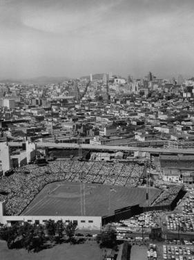 Ariels of Seals Stadium During Opeaning Day, Giants Vs. Dodgers by Nat Farbman