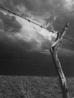 On a Small Farm, Ominous Clouds Overhead, Outlined by Barbed Wire Fencing by Nat Farbman