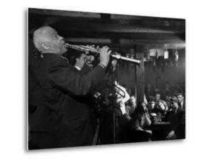 """Sidney Bechet Performing in Small Basement Club """"Vieux Colombier"""" by Nat Farbman"""