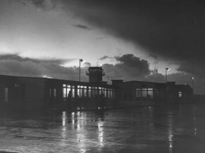 View of Airport and Runway at Dusk