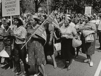 The March on Washington: Ladies Garment Workers' Union Marching on Constitution Avenue, 28th…