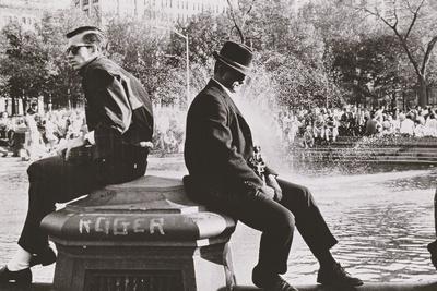 Two Men Sitting Back to Back Near Washington Square Park Fountain, Untitled 9, C.1953-64