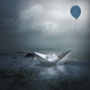 Paper Boat and Balloon by Natalia Simongulashvili