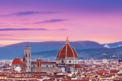Beautiful Florence Sunset City Skyline with Florence Duomo Panorama of Florence, Italy by Natalia Zakharova