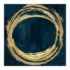 Circle Gold on Teal II by Natalie Harris