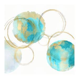Circular Aqua and Gold II by Natalie Harris