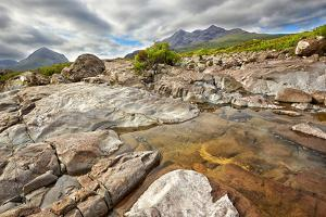 View on Sgurr Nan Gillean, Am Basteir and Sgurr a Bhasteir from Sligachan River, Isle of Skye, Scot by Nataliya Hora