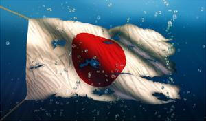 Japan under Water Sea Flag National Torn Bubble 3D by NatanaelGinting