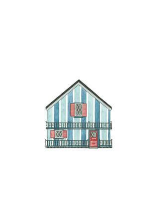 Little Striped Houses Cyan