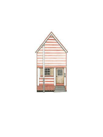 Little Striped Houses Pink