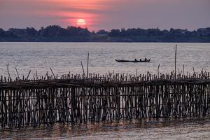 Bamboo Bridge of Koh Paeng Island on the Island River, Kompong Cham (Kampong Cham), Cambodia by Nathalie Cuvelier