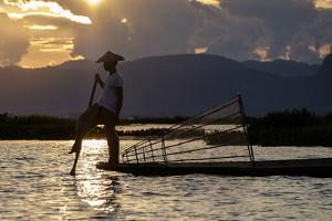 Intha Ethnic Group Fisherman, Inle Lake, Shan State, Myanmar (Burma), Asia by Nathalie Cuvelier