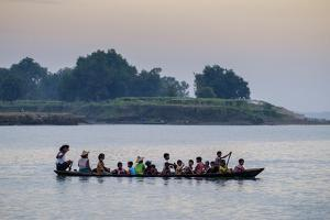 Local Boat on the Lemro River, Mrauk U, Rakhaing State, Myanmar (Burma), Asia by Nathalie Cuvelier