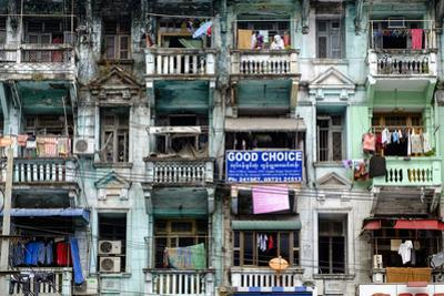 Old Building, Old City, Yangon (Rangoon), Myanmar (Burma), Asia by Nathalie Cuvelier