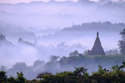 Stupas (Zedis) in the Morning Mist, Mrauk U, Rakhaing State, Myanmar (Burma), Asia by Nathalie Cuvelier