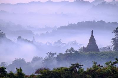 Stupas (Zedis) in the Morning Mist, Mrauk U, Rakhaing State, Myanmar (Burma), Asia