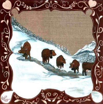 5 Vaches dans la Neige