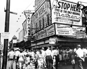 Nathan's Hot Dogs, Coney Island, New York, c.1960