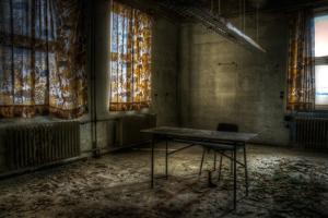 Derelict Interior with Chair and Desk by Nathan Wright