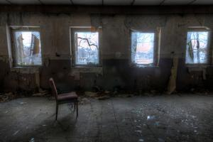 Derelict Interior with Chair by Nathan Wright
