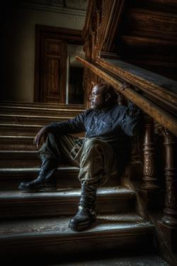 Male Figure in Abandoned Building by Nathan Wright