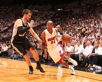 Miami, FL - June 20: Ray Allen and Tiago Splitter by Nathaniel S. Butler