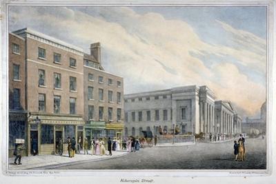 Aldersgate Street, City of London, C1830 by Nathaniel Whittock