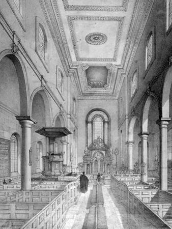 Interior of St Bartholomew-By-The-Exchange, City of London, C1835 by Nathaniel Whittock
