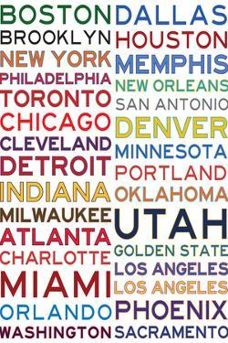National Basketball Association Cities on White