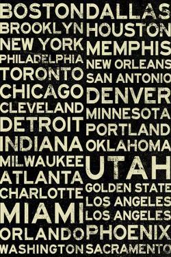 National Basketball Association Cities Vintage Style Plastic Sign