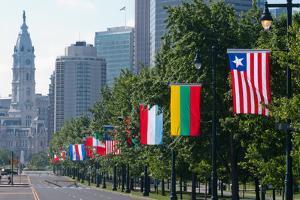 National Flags of Various Countries at Benjamin Franklin Parkway, Philadelphia, Pennsylvania, Usa