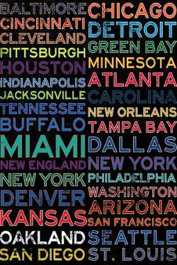 National Football League Cities Colorful Plastic Sign