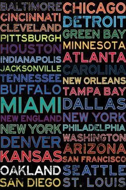 National Football League Cities Colorful