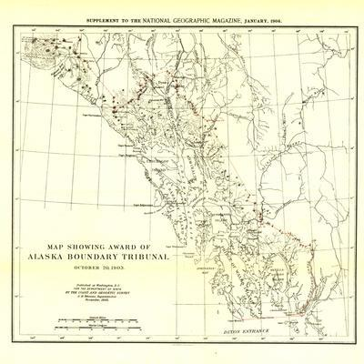 1904 Map Showing Award Of Alaska Boundary TribunalNational Geographic Maps. Wall  Mural Part 39