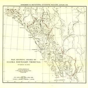 1904 Map Showing Award of Alaska Boundary Tribunal by National Geographic Maps