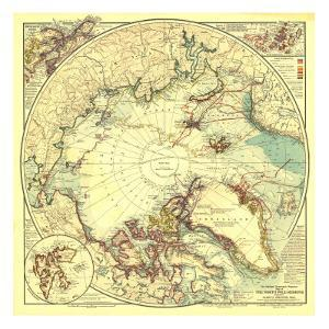 1907 North Pole Regions Map by National Geographic Maps