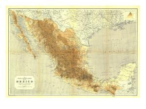1911 Mexico Map by National Geographic Maps
