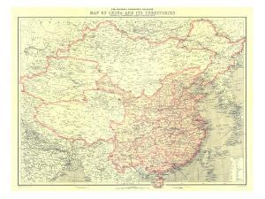 1912 China and Its Territories Map by National Geographic Maps