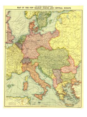 1914 New Balkan States and Central Europe Map by National Geographic Maps