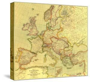 1915 Europe Map with Africa and Asia by National Geographic Maps