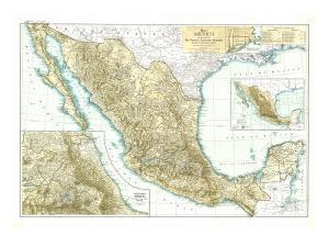 1916 Mexico Map by National Geographic Maps