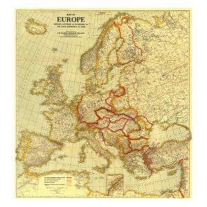 1921 Map of Europe Showing the Countries Established by the Peace Conference of Paris by National Geographic Maps