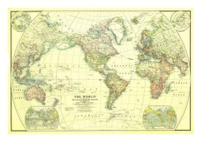 1922 World Map by National Geographic Maps