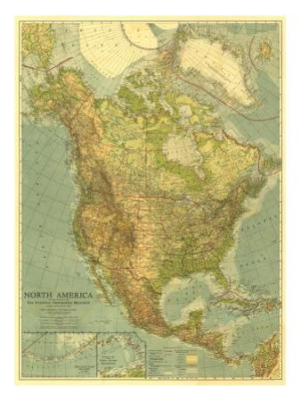 1924 North America Map by National Geographic Maps