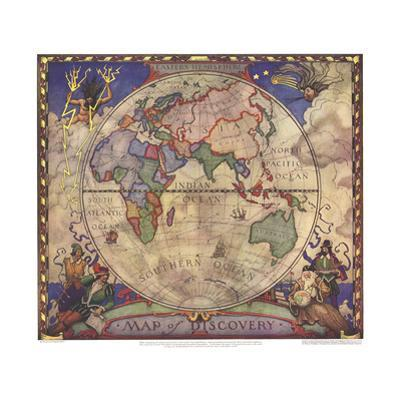 1928 Map of Discovery, Eastern Hemisphere by National Geographic Maps